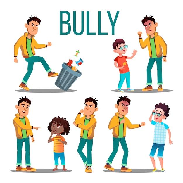 Bully child . angry bully kid. teenager victim. sad boy, girl child Premium Vector