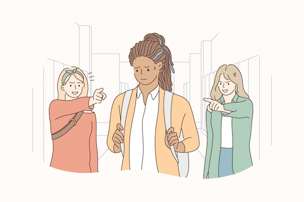 Bullying, violence, racism concept Premium Vector