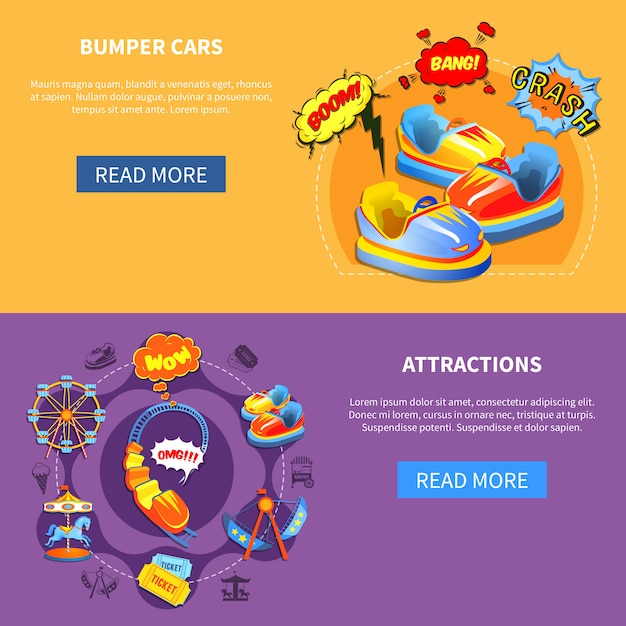 Bumper cars and attractions flat banners Free Vector