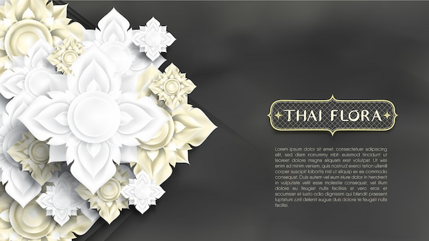 Bunch of abstract white and gold flowers paper cut style on chalkboard like background Premium Vector