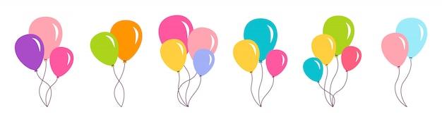 다발 공기 풍선 생일 파티 세트 선물 프리미엄 벡터