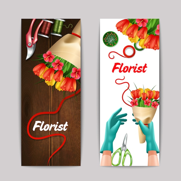 Bunch of flowers with florist text and equipment banner set isolated Free Vector