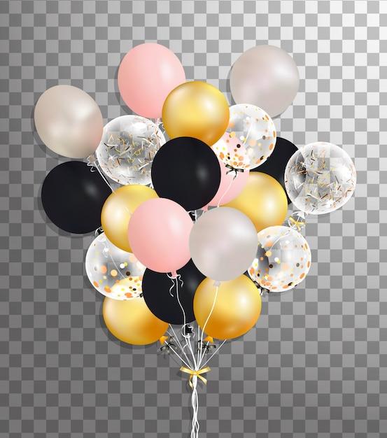 Букет из серебра, розовый, черный, золотой гелиевый шар, изолированных в воздухе. матовая партия воздушных шаров для мероприятия. партийные украшения на день рождения, юбилей, торжество. блеск прозрачный шар. Premium векторы