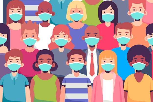 Bunch of people wearing face masks Free Vector