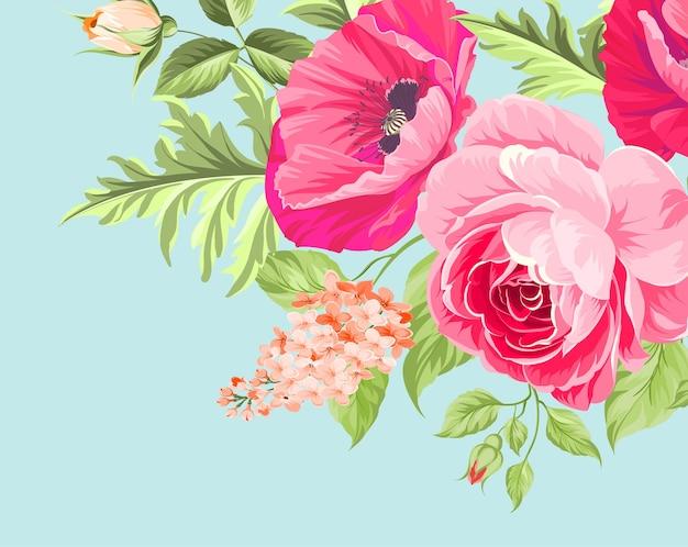 파란색 바탕에 양 귀 비 꽃을 무리. 무료 벡터