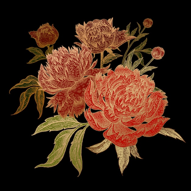Premium Vector Bunch Of Red Peony Flowers With Gold Stroke