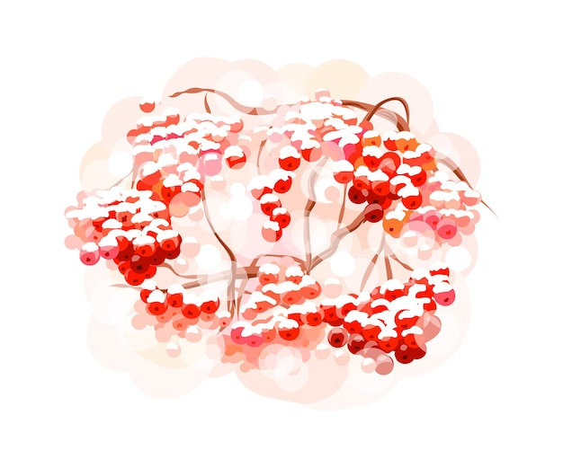 Букет из ягод рябины от всплеск акварелей. ручной обращается эскиз. иллюстрация красок Premium векторы