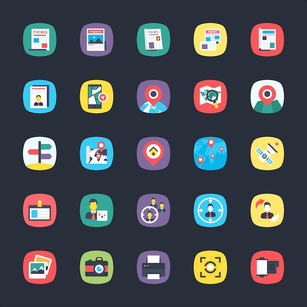 Bundle of app flat icons Premium Vector