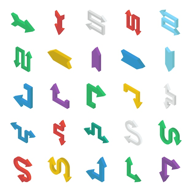 Bundle of arrows isometric Premium Vector