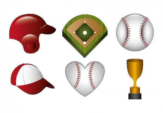 Bundle of baseball and icons Free Vector