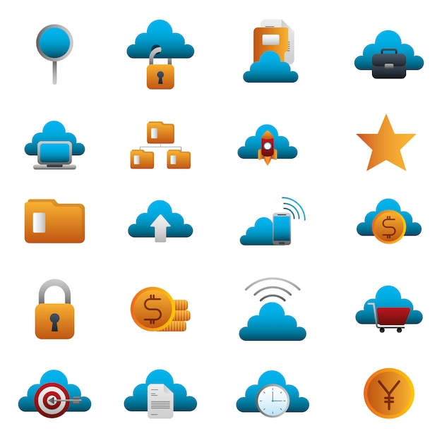 Bundle of business colorful set icons Free Vector