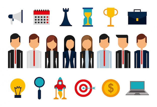 Bundle of business people avatars and supplies Free Vector