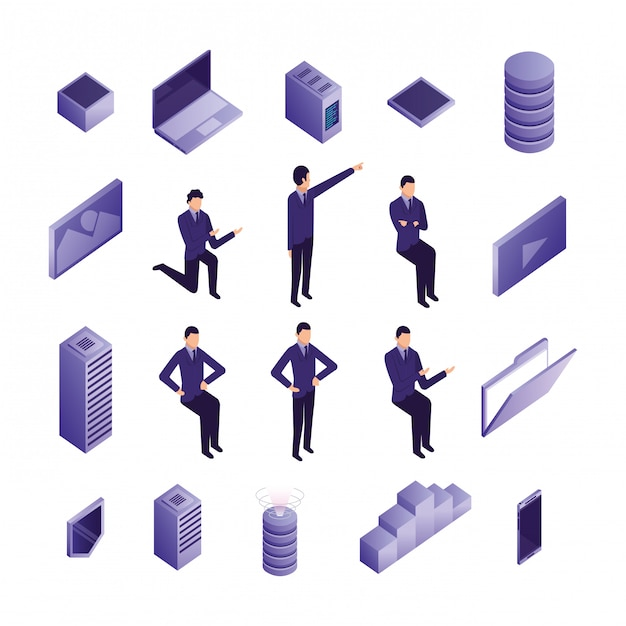 Bundle of business people and data center icons Free Vector