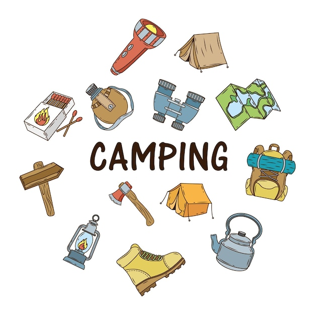 Bundle of camping icons and lettering Premium Vector