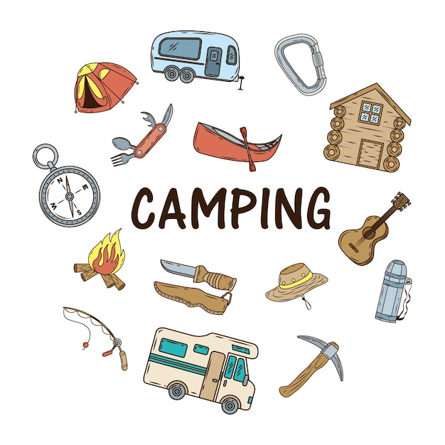 Bundle of camping set icons and lettering Premium Vector