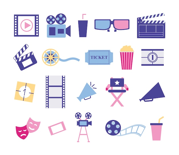 Bundle of cinema entertainment set icons Free Vector