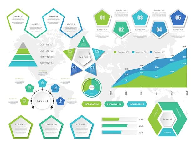 ビジネス戦略のアイコンとバンドルコレクションインフォグラフィック要素 Premiumベクター