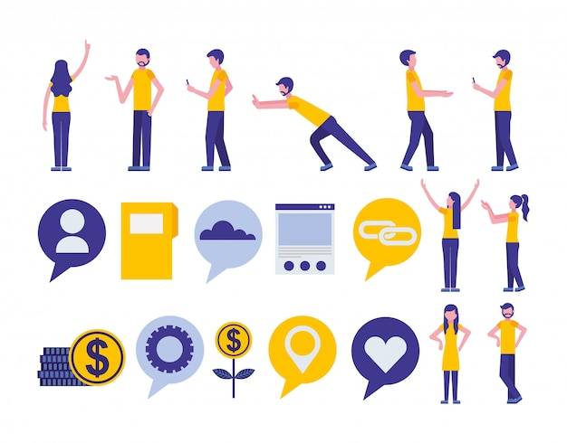 Bundle of community and social media marketing icons Free Vector