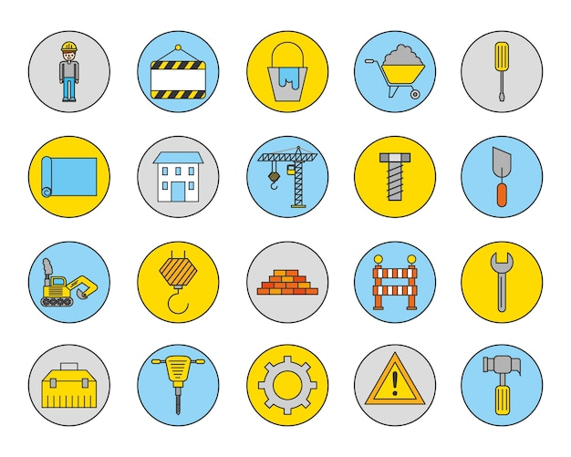 Bundle of construction set icons Free Vector