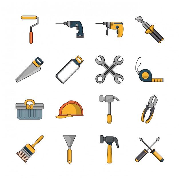 Bundle of construction tools set icons Premium Vector