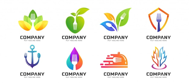 Bundle creative fork spoon restaurant logo collection Premium Vector