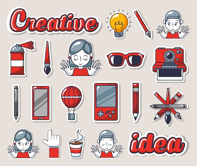 Bundle of creative photographic ideas set icons Free Vector