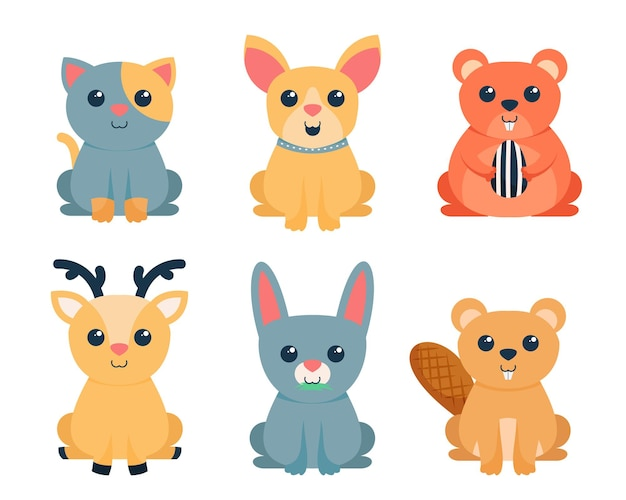 Bundle of cute animal cartoon characters collection,  flat colorful   illustration Free Vector