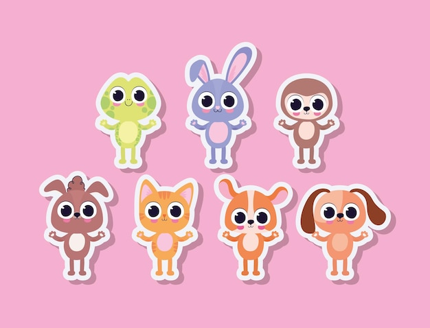 Bundle of cute pet stickers on a pink background vector illustration design