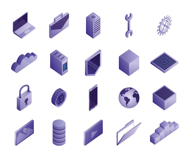 Bundle of data center icons Free Vector