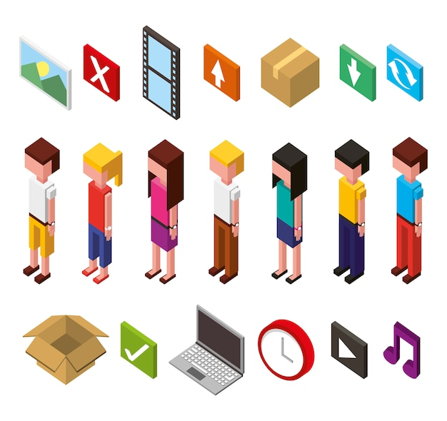 Bundle of data center and users avatars isometric set icons Free Vector