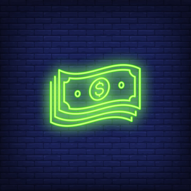 Bundle of dollar bills neon sign Free Vector