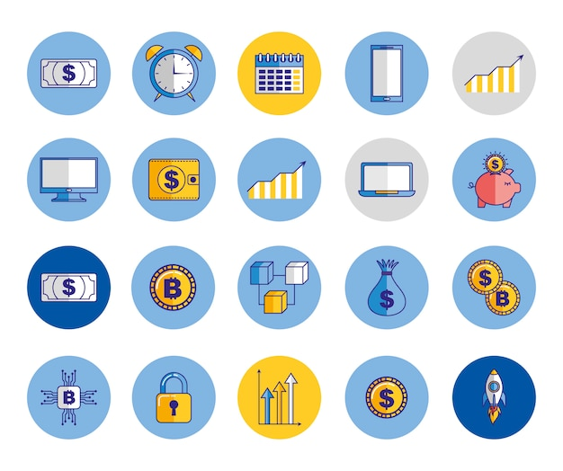 Bundle of economy and finances icons Free Vector