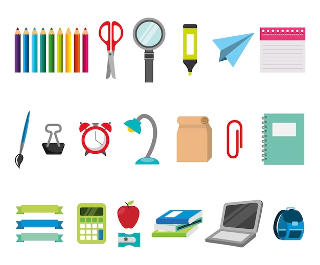 Bundle of education learning set icons Free Vector
