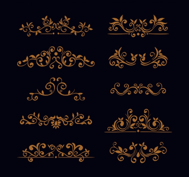 Bundle of elegant ornamental borders frames Free Vector