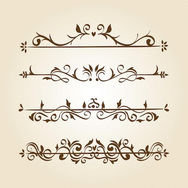 Bundle of elegant ornamental borders frames Free Vector