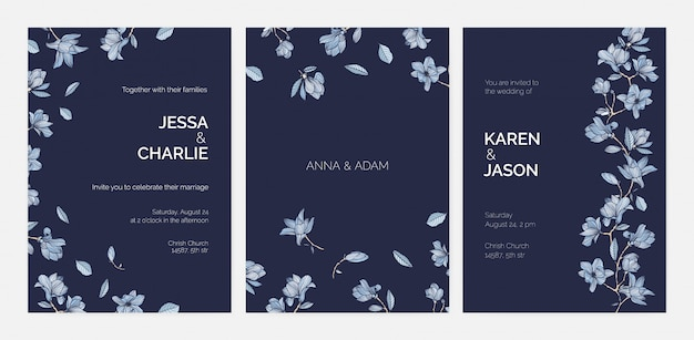 Bundle of elegant templates for save the date card or wedding invitation with beautiful magnolia tree branches and flowers hand drawn with contours on dark background. realistic illustration. Premium Vector