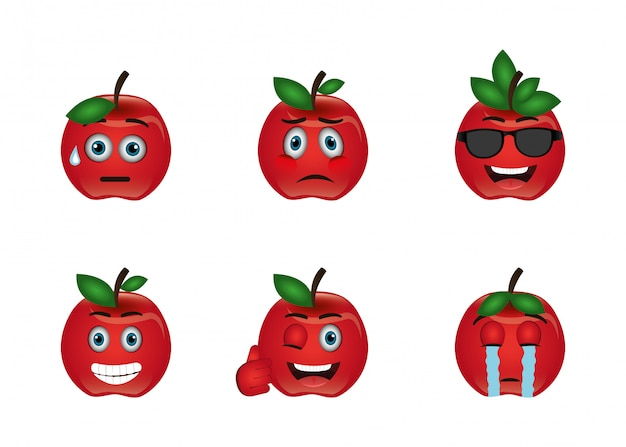 Bundle of emoticons apples expressions Free Vector