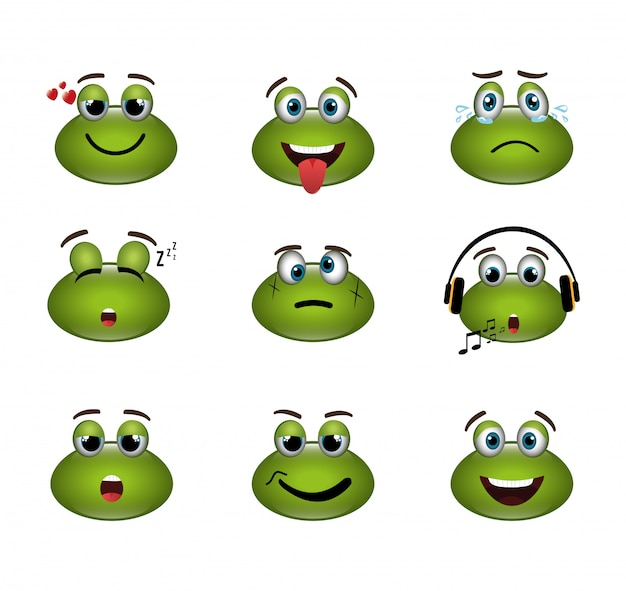 Bundle of emoticons frogs expressions Free Vector