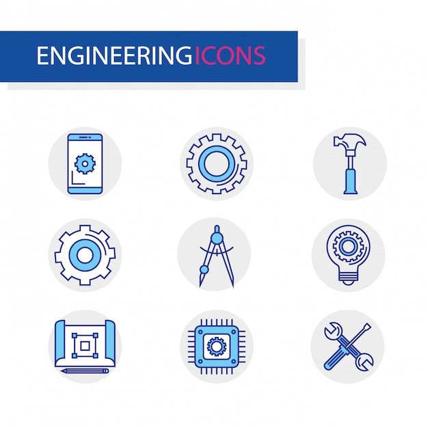 Bundle of engineering set icons Free Vector