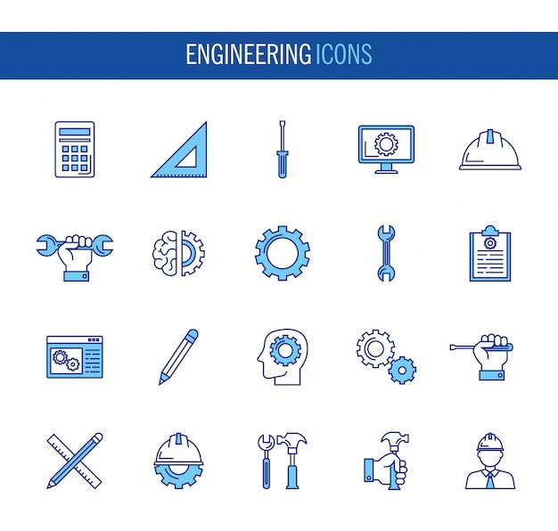 Bundle of engineering set icons Free Vector