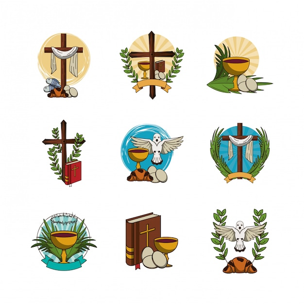 Bundle of first communion set icons Premium Vector