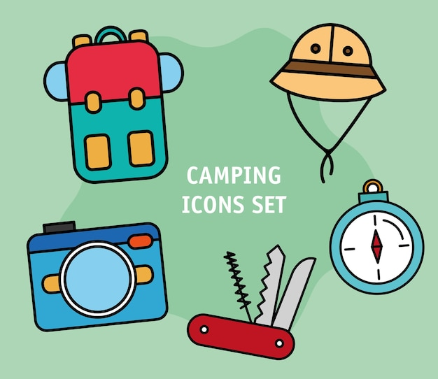 Bundle of five camping set line and fill icons and lettering Premium Vector
