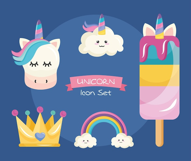 Bundle of five unicorn set icons and lettering in ribbon Premium Vector