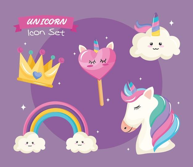 Bundle of five unicorn set icons and lettering Premium Vector