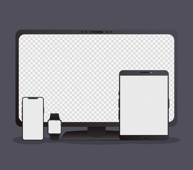 Bundle of four mockup electronic devices Premium Vector