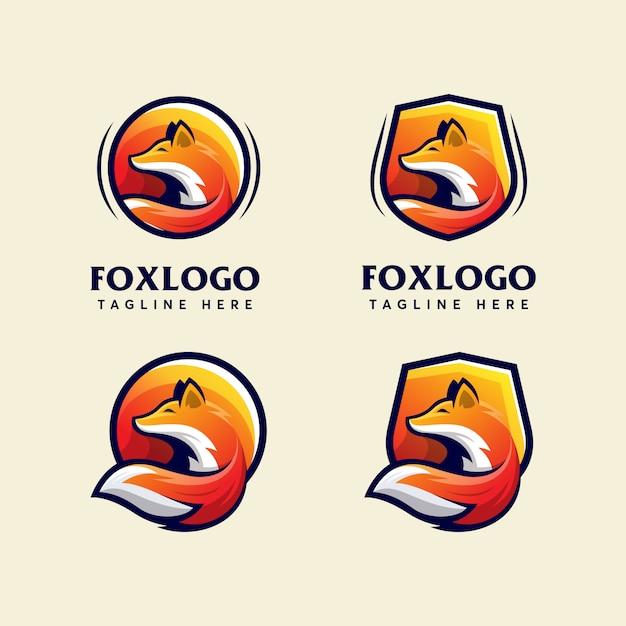 Bundle fox modern logo design template modern sport Premium Vector