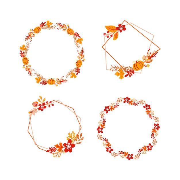 Bundle  frame autumn bouquet wreath Premium Vector