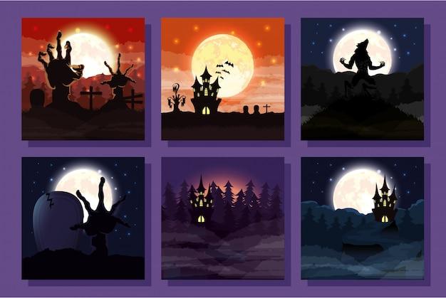 Bundle of halloween scenes Free Vector