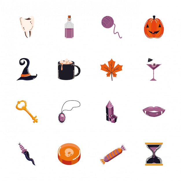 Bundle of halloween set icons Free Vector