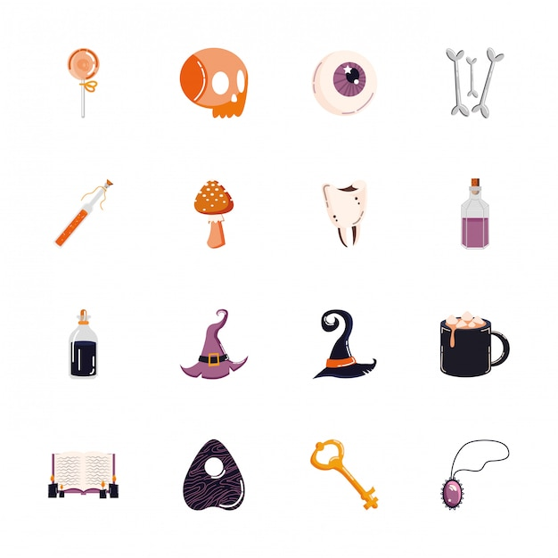 Bundle of halloween set icons Free Vector